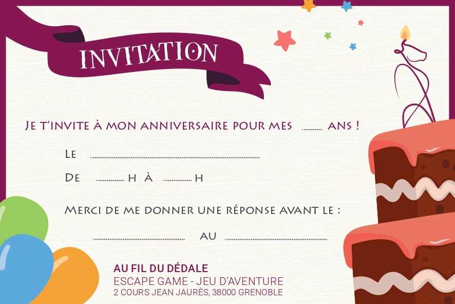 Carton d'invitation anniversaire escape game